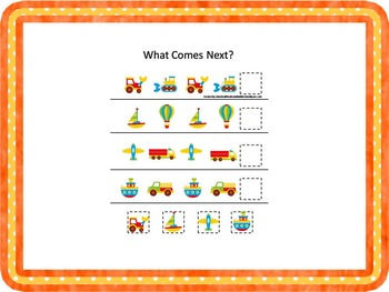 21 Transportation themed preschool games and worksheets bundle.