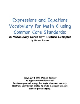 21 Vocabulary Cards for Expressions and Equations Math 6 Common Core Standards