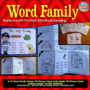 Word Families - {21 Trifold Mini Book Bits with Posters an