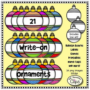 21 Write-On Ornaments - Resizable - Labels Gift Tags - Clip Art