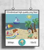 19 at the Beach Clip Art pieces, sailing, Summer party Cli