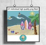 21 at the Beach Clip Art pieces, surfing, Summer party Cli