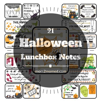 21 printable HALLOWEEN lunchbox notes