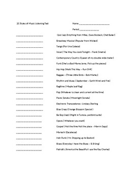 21 styles of music listening test