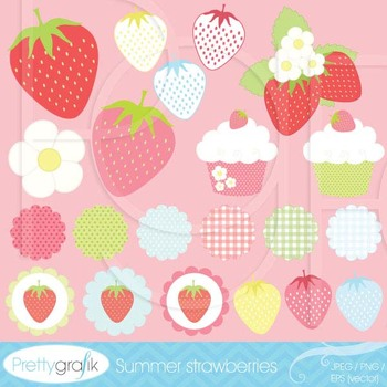 21 summer strawberry clipart commercial use, vector graphics - CL505