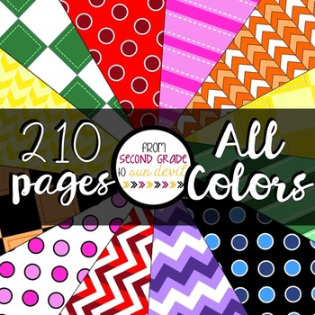 210 Pages of Digital Paper - All COLORS!