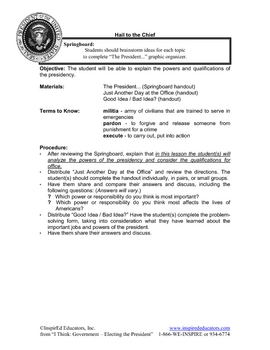 2101-1 Powers and Qualifications of the U.S. President