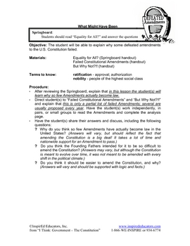 2103-14 The Constitution - Dead and Defeated Amendments