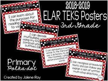"2108 3rd Grade ELAR TEKS ""I Can"" Statement Posters: PRIMARY POLKADOT"