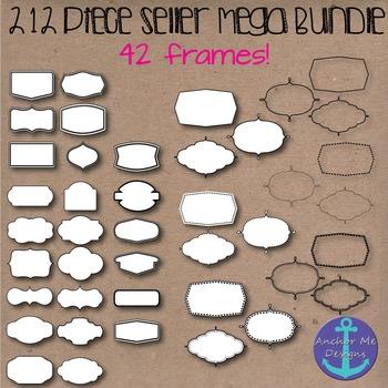 212 Piece Seller Mega Bundle- Digital Papers, Frames, Glitter Letters & Kids
