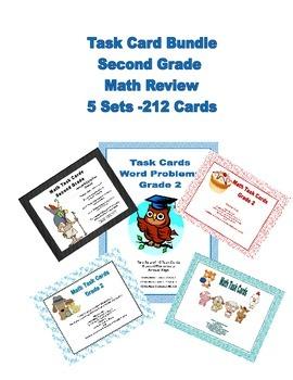 212 Task Cards Math Bundle for Second Grade -Addresses 8 M