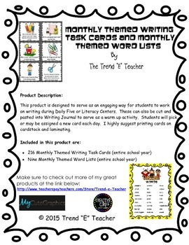 216 Monthly Themed Writing Task Cards and 9 Word lists (entire year)