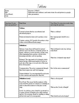 Drama Theatre Arts 21st Century Notes: Tableau