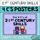21st Century Skills- 4 C's Posters for STEM / STEAM Classroom Decor Bright Theme