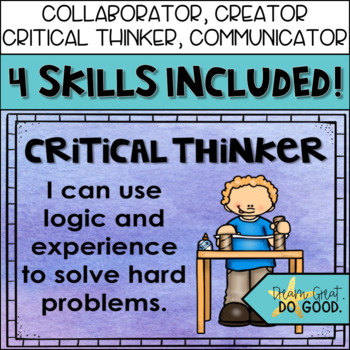 21st Century Skills- 4 C's Posters for STEM / STEAM Classroom Decor Watercolor