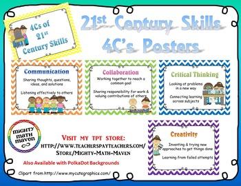 21st Century Skills ~ Four Cs Posters ~ Chevron backgrounds