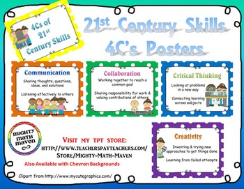 21st Century Skills ~ Four Cs Posters ~ PolkaDot backgrounds