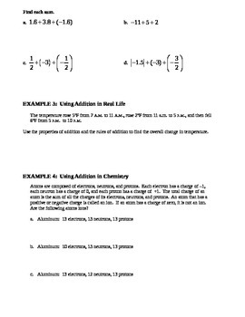 2.2 Addition of Real Numbers