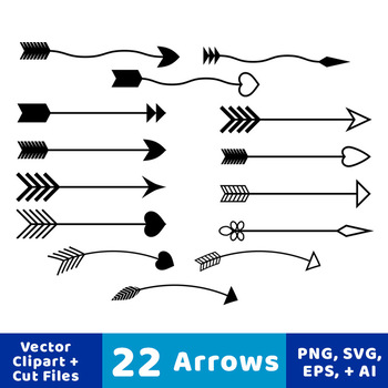 22 Arrows Clipart, Tribal Arrow Clip Art, Archery, Boho, Indian, Native American
