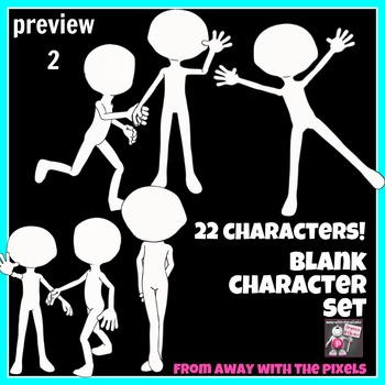 22 Blank Character Clip Art with Speech Bubbles, Draw Faces, Write Dialog etc