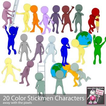 22 Color Stickman Clip Art for Teachers - Action Clipart