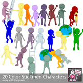 22 Color Stickman Clip Art for Teachers - Action Clipart