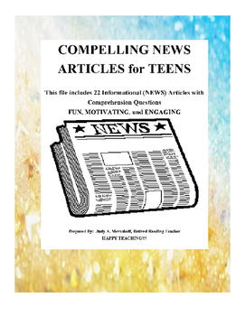 Compelling News Stories for Teens Teacher Supplemental Resources Fun Engaging