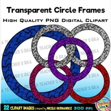 22 Damask Woven Circle Frames Clip Art for Personal and Co