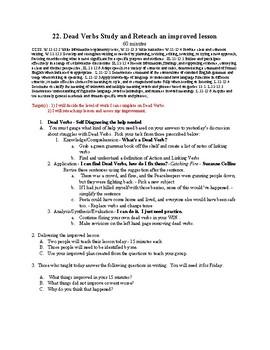 22. Dead Verbs Study and Reteach an improved lesson