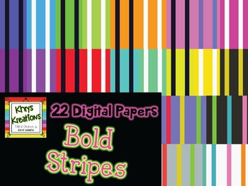 22 Digital Papers {Khrys Kreations} *BOLD Stripes*