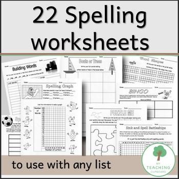22 Educational Spelling Blackline Master Worksheets - Teacher Resource