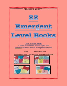 22 Emergent Level Books and Lesson Plans BUNDLE- Guided Reading Levels A-C