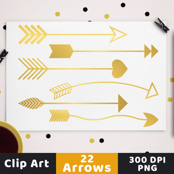 22 Gold Arrows Clipart, Christmas Clipart, New Year's Clipart, Decorative Arrows