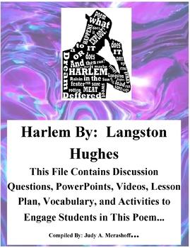 Harlem by Langston Hughes Teacher Supplemental Resources Fun Engaging