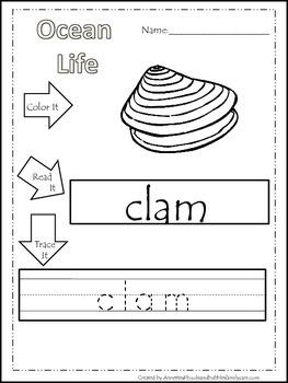 22 Ocean Life themed printable preschool worksheets. Color, Read, Trace