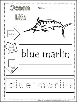 22 Ocean Life themed printable preschool worksheets. Color, Read, Trace