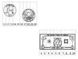22 Printable Money Sequence Puzzles. Coins and Bills.