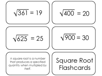 22 Square Root Printable Flashcards. 3rd Grade-8th Grade Math.