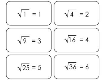 22 Square Root Printable Flashcards. 3rd Grade-8th Grade Math.