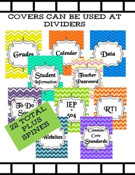 22 Teacher Binder Organizer and Spine Chevron Design Classroom Decor