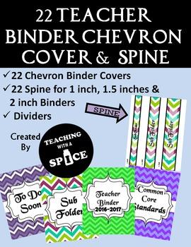 22 Teacher Binder Organizer and Spine Chevron Design