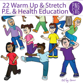22 Warm-Up Stretches and Exerise Clipart (Set 2) PNGs + SVGs