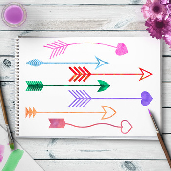 22 Watercolor Arrows Clipart, Watercolor Clip Art, Native American Indian, Boho
