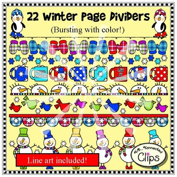 22 Winter Page Dividers! (Line art included.)
