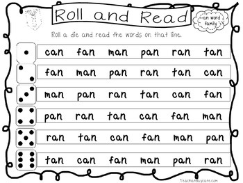 22 Word Family Roll and Read Worksheets