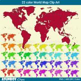 22 color World Map Clip Art
