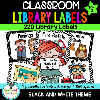 220 Classroom Library Book Bin / Basket Labels {Black & White} SET 2