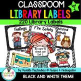 220 Classroom Library Book Bin / Basket Labels {Black & White} SET 2