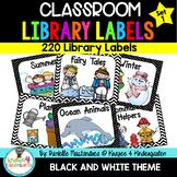 220 Classroom Library Book Bin / Basket Labels {Black & White Theme}