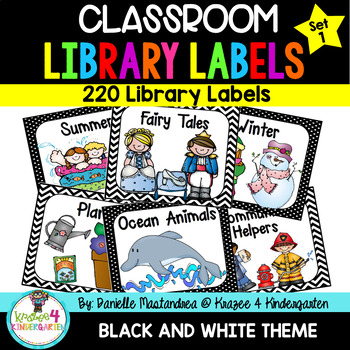 220 Classroom Library Book Bin / Basket Labels {Black & White Theme}